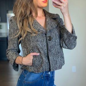 Elie Tahari Virgin Wool Tweed Button Blazer Jacket